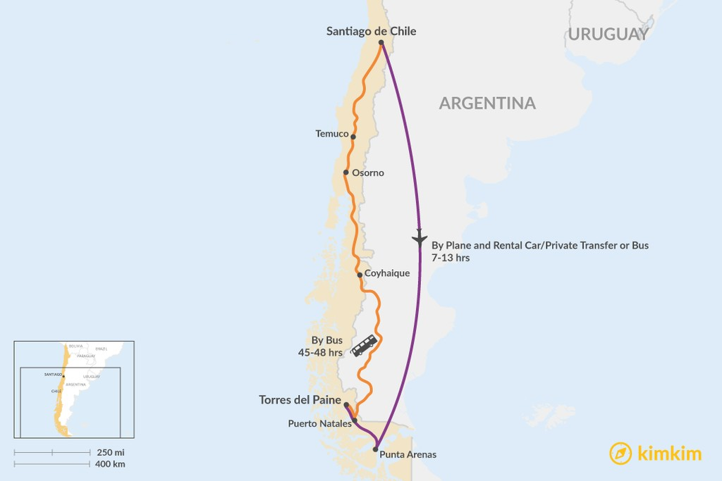 Map of How to Get from Santiago to Torres del Paine National Park