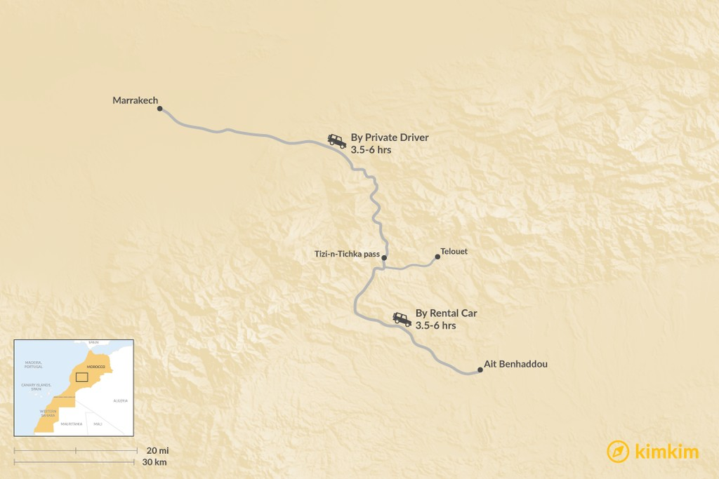 Map of How to Get from Marrakech to Aït Benhaddou