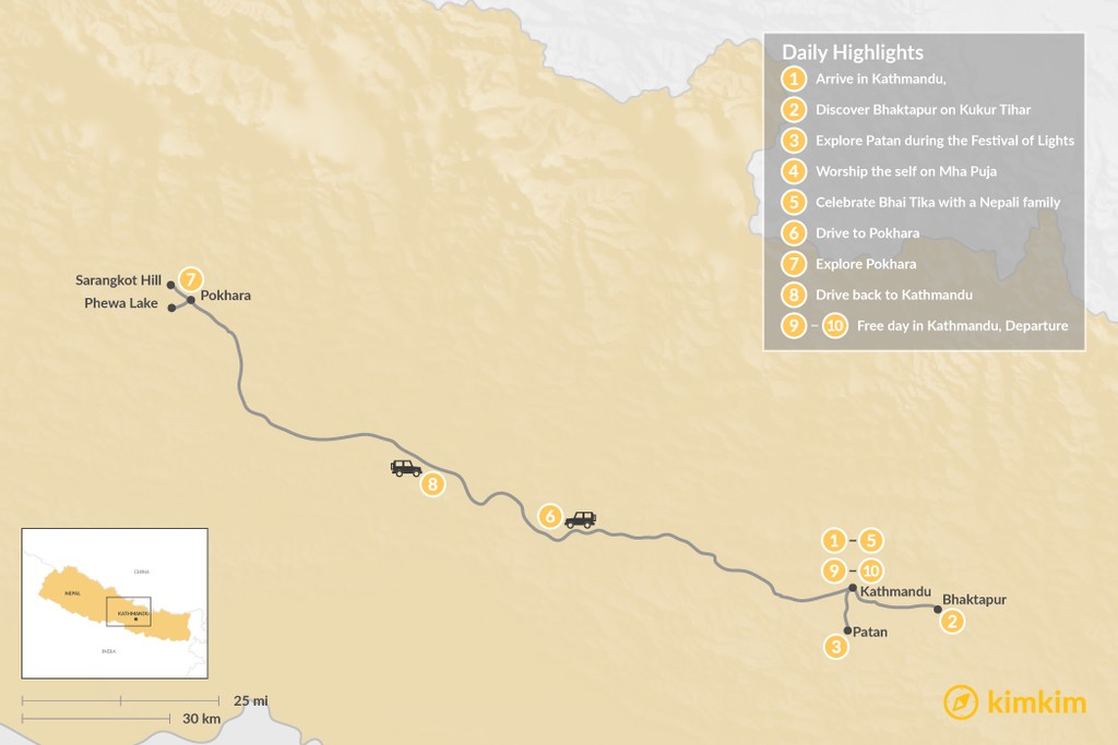 Map of Nepal's Festival of Lights - 10 Days