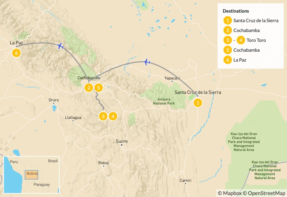 Map of Active Adventure in Bolivia - 7 Days