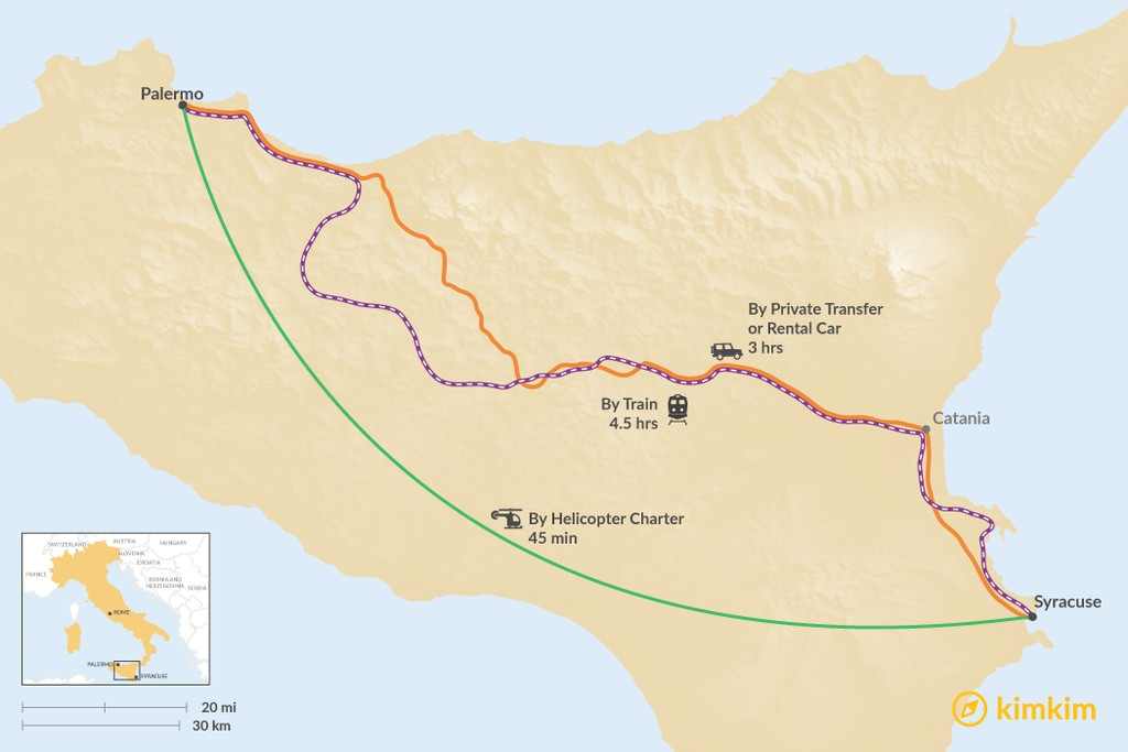 Map of How to Get from Palermo to Syracuse