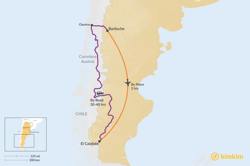 Map of How to Get from Bariloche to El Calafate