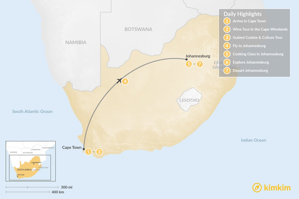 Map of South Africa Food & Wine Tour: Cape Town, Winelands, & Johannesburg - 7 Days