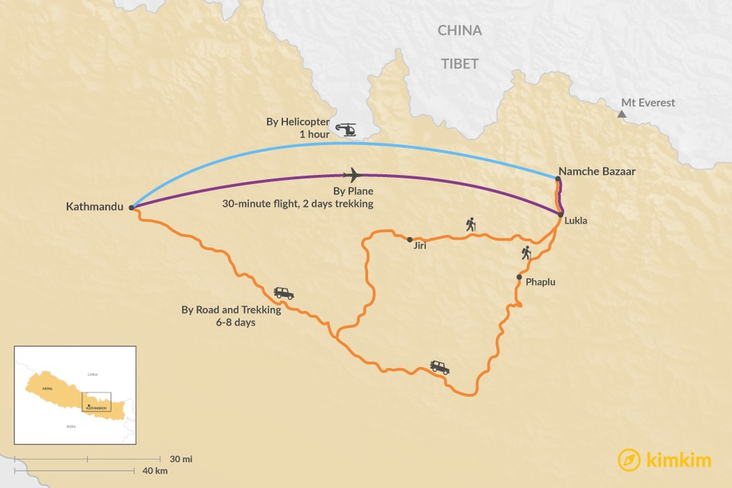 Map of How to Get from Kathmandu to Namche Bazaar