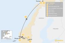 Map thumbnail of Norwegian Winter: Oslo, Bergen & Tromsø - 8 Days