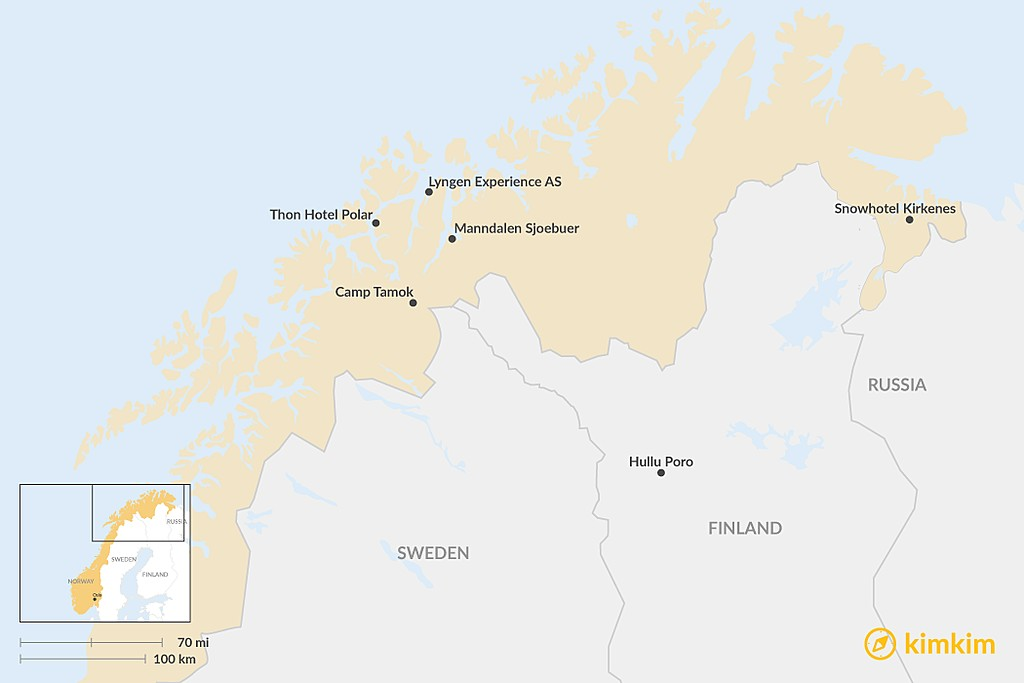 Map of Best Family-Friendly Lodging in Lapland & Northern Norway