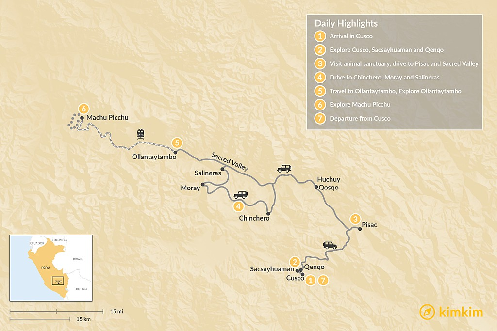 Map of Peruvian Luxury Experience - 8 Days