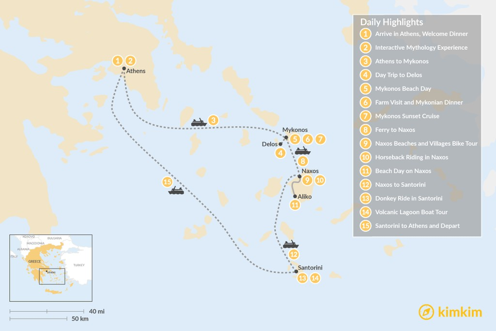 Map of Family Adventures in Athens and the Cyclades - 15 Days