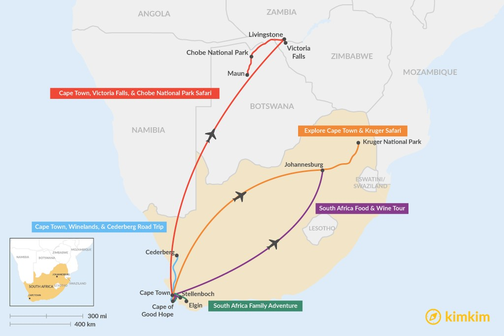 Map of 6 Days in South Africa - 5 Unique Itinerary Ideas