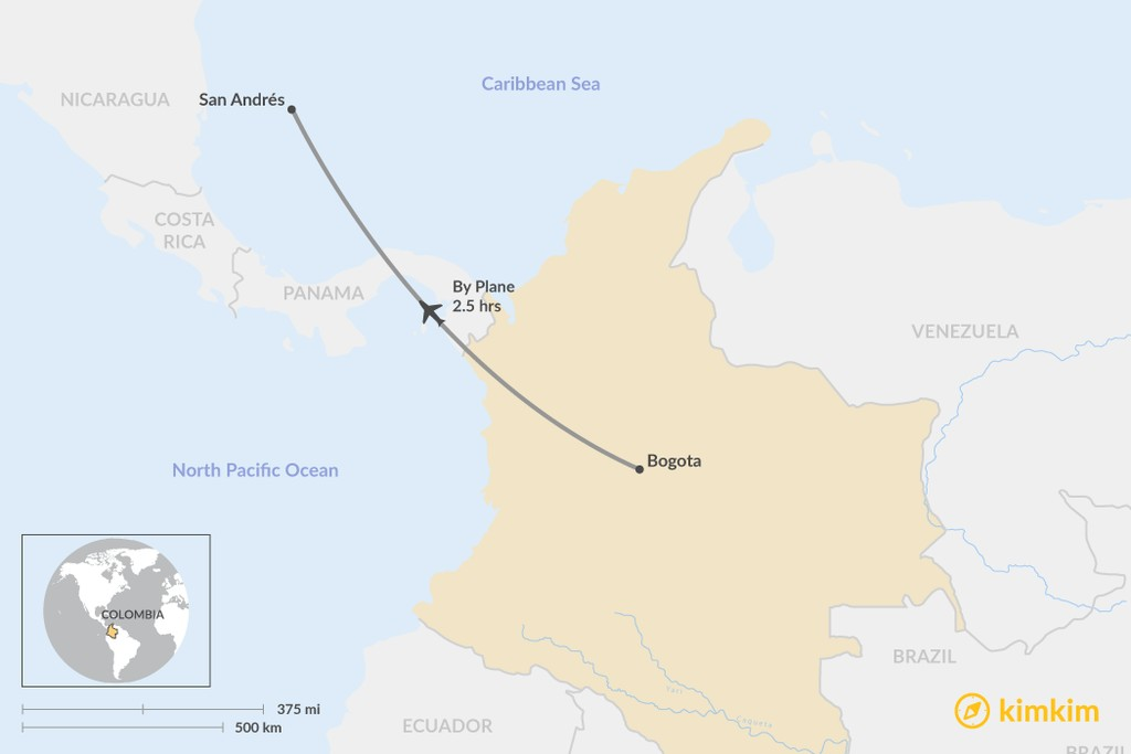 Map of How to Get from Bogotá to San Andrés Island