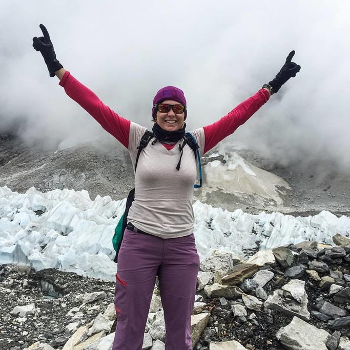 Made it out onto the glacier where all the tents would be set up for EBC. None here during the monsoon season though. Ice fall in the background. | Photo taken by Anita P