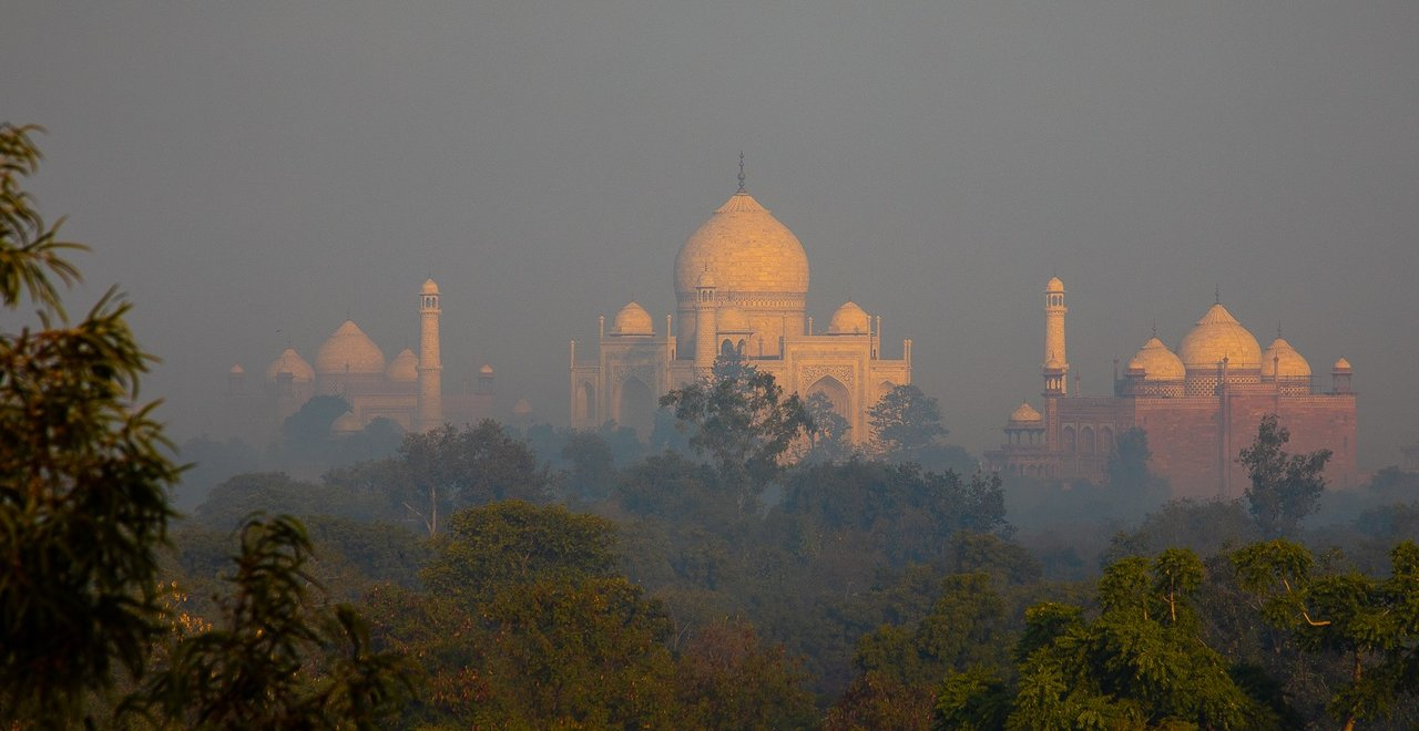 Taj Mahal from our hotel roof at sunrise, Agra | Photo taken by Jean M