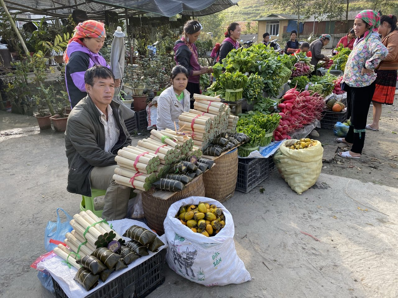 """But before we reach Bac Ha Market we first stop by the road to visit a vibrant """"pop-up"""" market where locals peddle their wares!   Photo taken by Su-Lin T"""