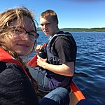 Sebastian and Charlotte canoeing in Rondane | Photo taken by Roberta R