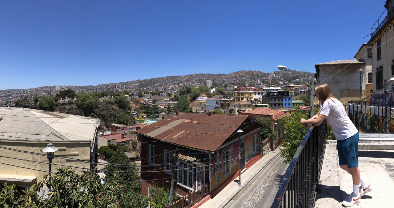 Tanner overlooking Valparaiso | Photo taken by Melody B