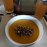 soup & toasted corn kernels | Photo taken by Jessica H