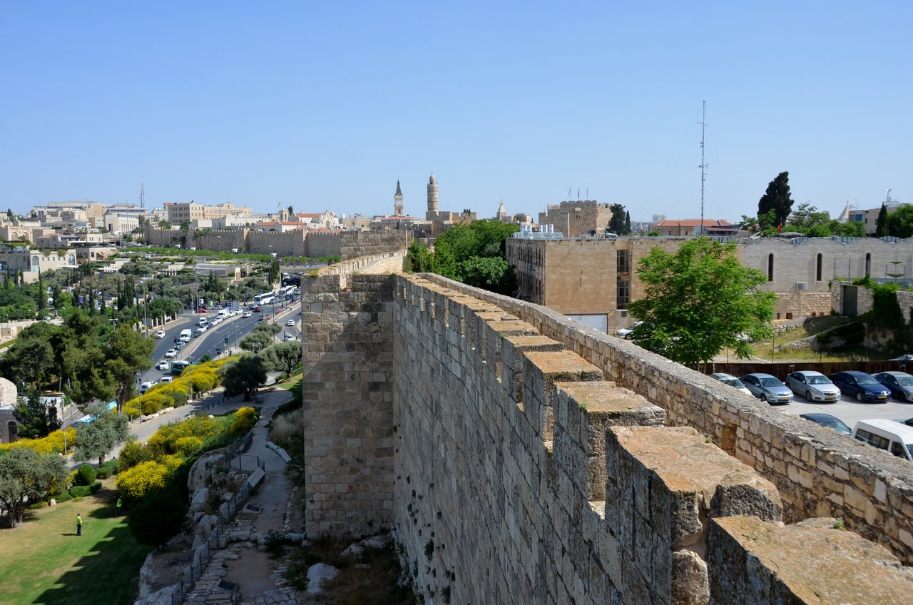 There are good views from the Ramparts Walk, where you can walk around the tops of the walls that separate Old Jerusalem from the new part of the city., which are quite modern. | Photo taken by Rich W