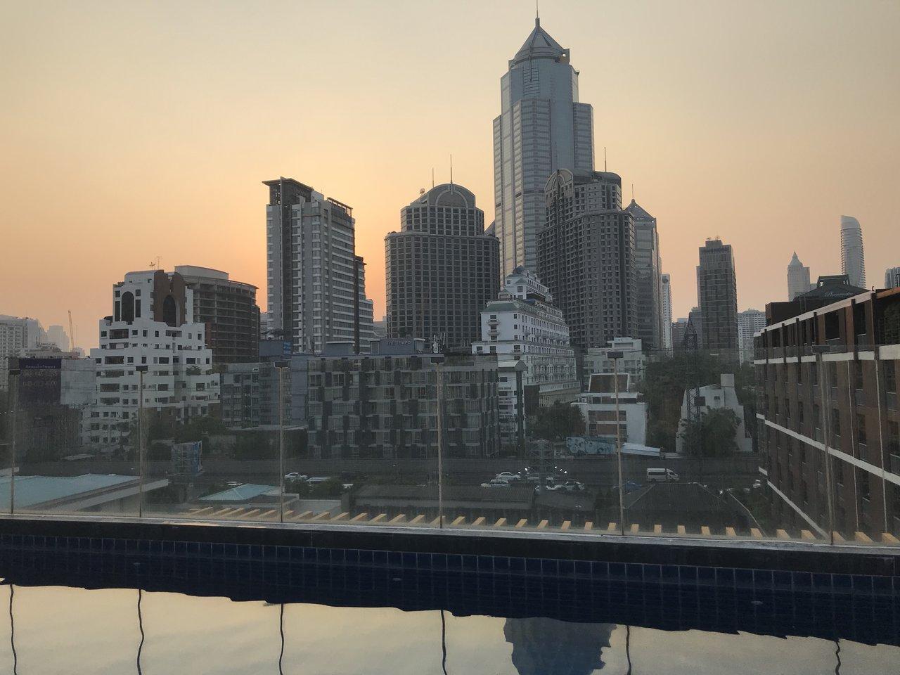 Taken from the rooftop pool at our hotel in Bangkok | Photo taken by Deborah B
