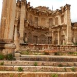 The elegant Nymphaeum (water fountain) at Jerash | Photo taken by Linley V