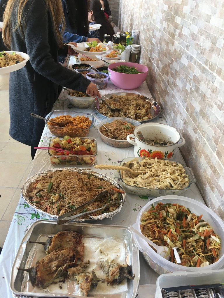 Yummy church lunch, mostly provided by the Filipino ladies. | Photo taken by Linley V