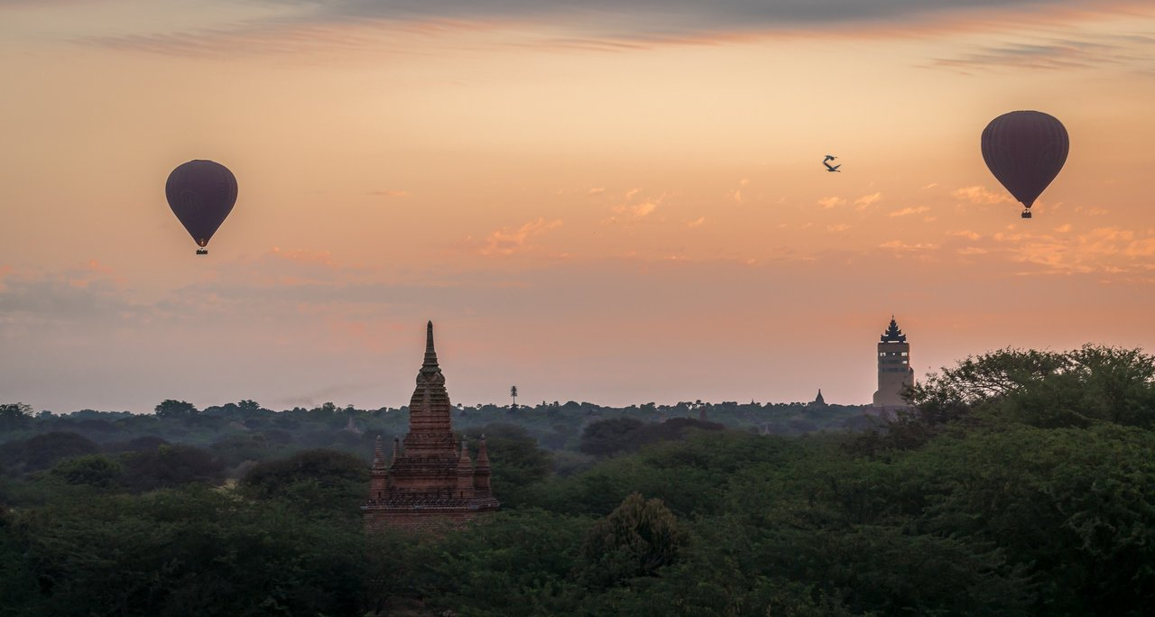 Sunrise over the Ancient Temples of Bagan in Myanmar