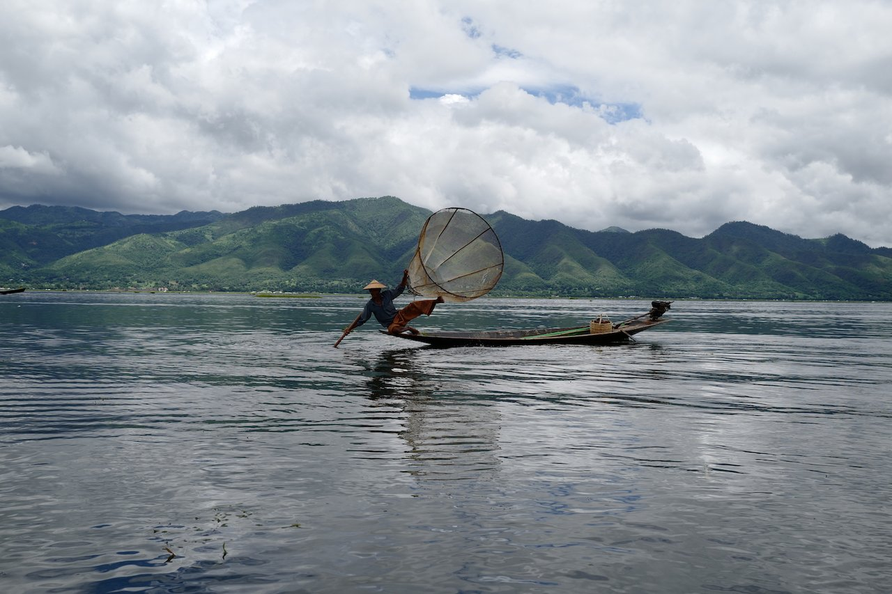 Traditional fishing on Inle Lake | Photo taken by Su-Lin T