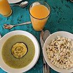 soup & popcorn (goes inside soup) | Photo taken by Jessica H