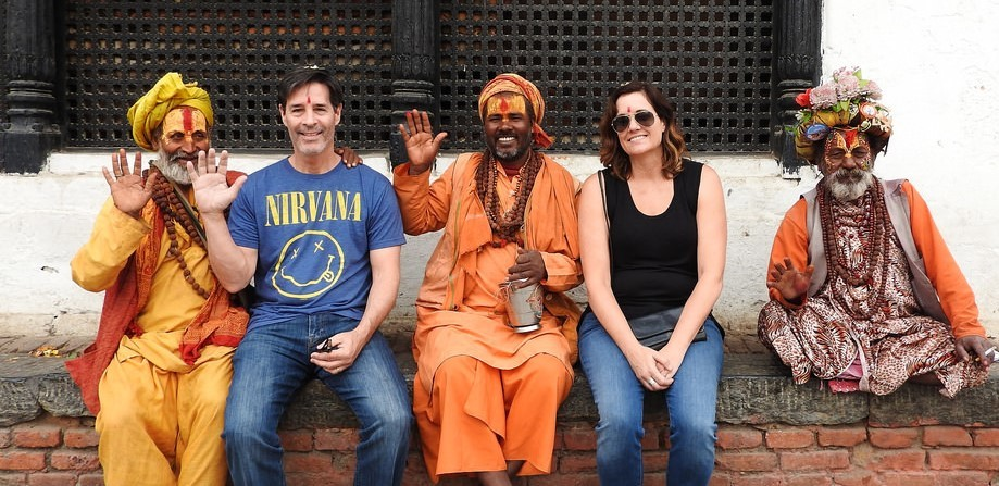 Sitting with saddhus in Kathmandu | Photo taken by Kim C