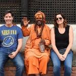 Sitting with saddhus in Kathmandu | Photo taken by Kim Coutts