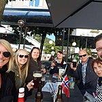 Enjoying a cold one after our 1st day in Norway | Photo taken by Mark M