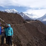 Harris Family and Everest and Ama Dablam | Photo taken by Dorine Harris
