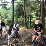 "Horse riding part of the way to ""Tigers Nest Temple "" 