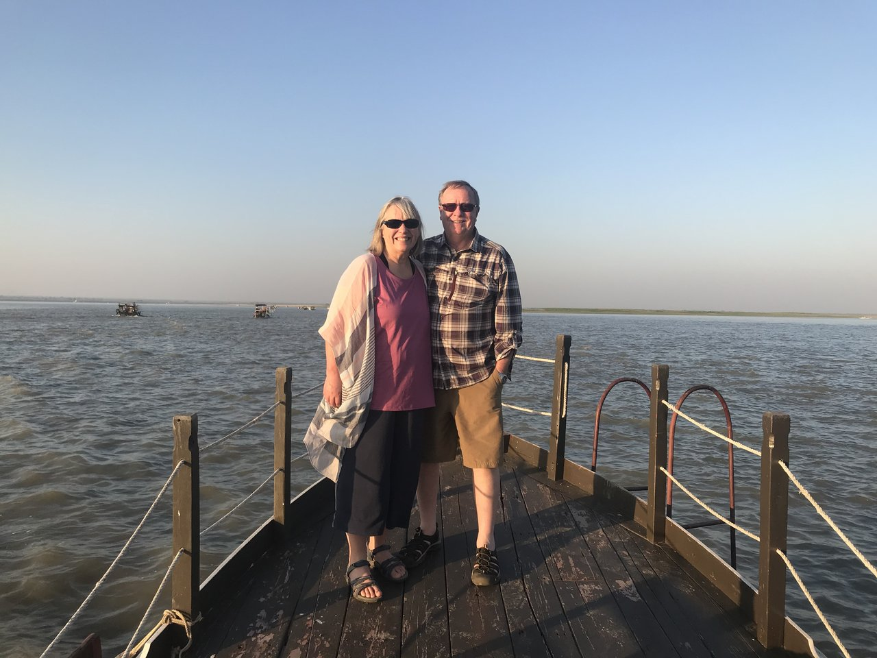 Cruising the Irrawaddy River at sunset | Photo taken by Bonnie S