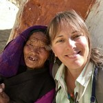 With 87 year old woman, Chossar Valley | Photo taken by Lisa D