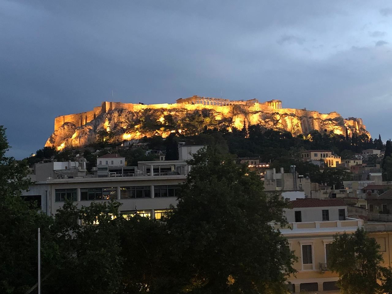 Parthenon lit up - view from our hotel  | Photo taken by Beverley K