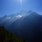On our way to Namche, first proper view of Himalayan mountains | Photo taken by Jay L