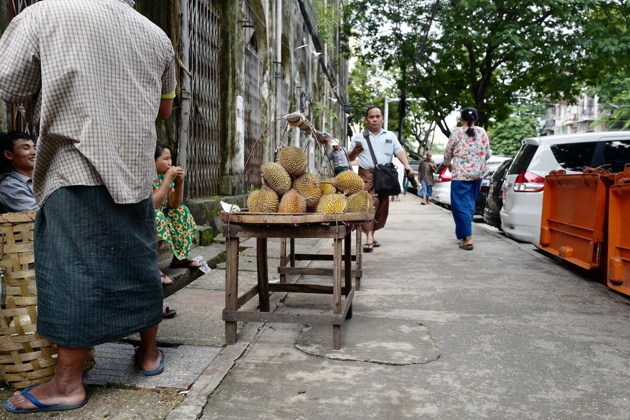 Durians for sale in Yangon | Photo taken by Su-Lin T