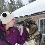 You really get to bond with the dogs while dog sledding | Photo taken by Cyndi P
