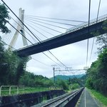 Suspension Bridge (carrying the Joshinetsu Expressway) above the tracks  | Photo taken by Pui san C