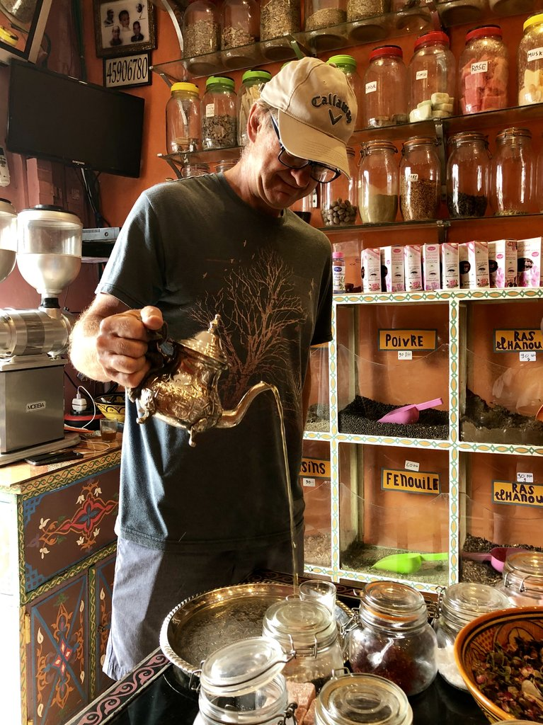 Learning to pour tea the Moroccan way | Photo taken by Alta P