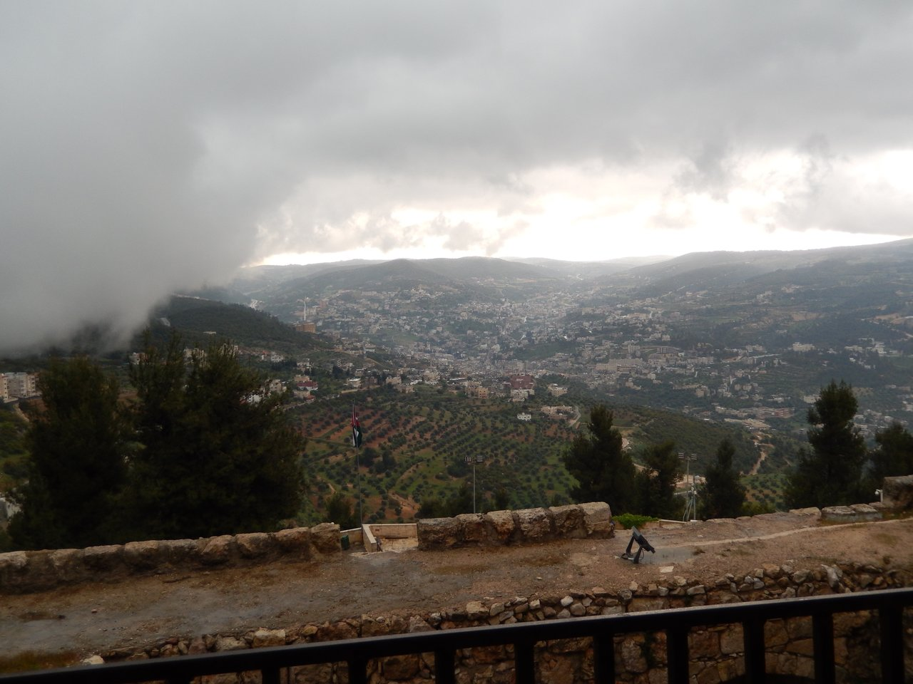 Looking out at the view from Ajloun Castle and then the cloud just rolled across and obscured it! | Photo taken by Linley V