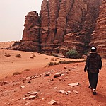 My guide Hussain leading me to Khazali Canyon in Wadi Rum | Photo taken by Jennifer K