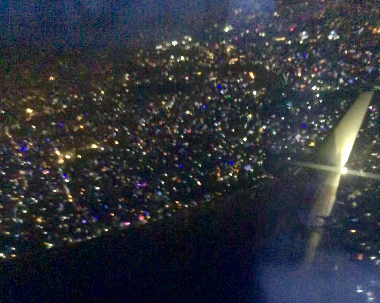 Kathmandu's Tihar lights from the air | Photo taken by Caroline R