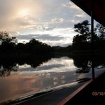 Sunset over the Napo river on the way back to Yucuma after fishing for piranhas and visiting the hidden lagoon. | Photo taken by Katrina H