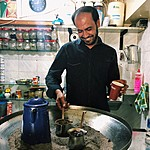 Making Arabic coffee on hot sand | Photo taken by Jennifer K