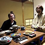 Sharing a laugh about our Japanese skills during bfast | Photo taken by Joost S