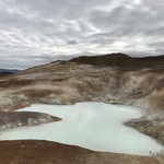 Turquoise geothermal hot spring at the lava fields at Myvatn.  | Photo taken by Whitney S