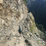 Hiking the steep valley | Photo taken by Esther Y