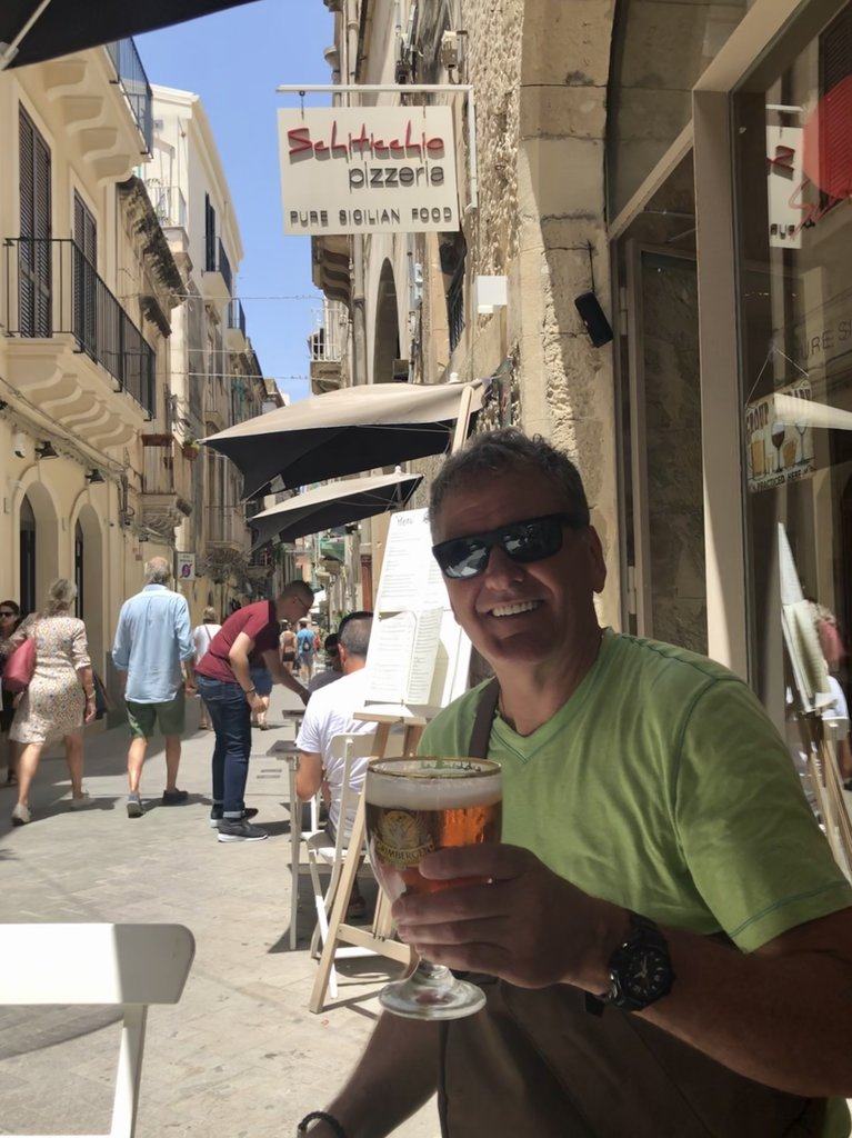 Nice cold beer on a hot day in  Ortygia | Photo taken by ingrid B