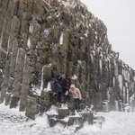 Reynisdrangar columns in blizzard, white out conditions | Photo taken by Grace L